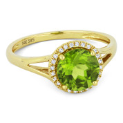 1.49ct Round Brilliant Cut Peridot & Round Diamond Halo Promise Ring in 14k Yellow Gold - AM-R1075PRY