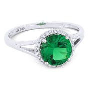1.24ct Round Brilliant Cut Lab-Created Emerald & Diamond Halo Promise Ring in 14k White Gold -  AM-DR13596