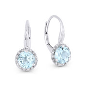 1.57 ct Blue Topaz Gem & Diamond Leverback Baby Earrings in 14k White Gold - AM-DE11473