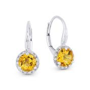1.32 ct Yellow Citrine Gem & Diamond Leverback Baby Earrings in 14k White Gold - AM-DE11535