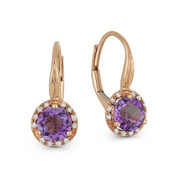 1.42 ct Purple Amethyst & Diamond Leverback Baby Earrings in 14k Rose Gold - AM-DE11537