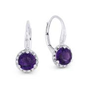 1.45 ct Purple Amethyst Gem & Diamond Leverback Baby Earrings in 14k White Gold - AM-DE11540