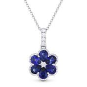 1.54ct Pear-Shape Sapphire & Diamond Flower Pendant in 18k White Gold w/ 14k Chain - AM-DN4817