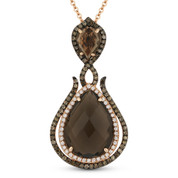 5.36ct Smoky Topaz, White Diamond, & Brown Diamond Pendant & Chain in 14k Rose & Black Gold - AM-DN4766