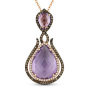 5.46ct Amethyst, White Diamond, & Brown Diamond Pendant & Chain in 14k Rose & Black Gold - AM-DN4797