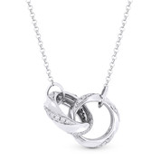0.27ct Round Cut Diamond Double-Ring Pendant & Chain Necklace in 14k White Gold - AM-DN4775