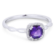 0.57ct Cushion Cut Purple Amethyst & Diamond Square-Halo Promise Ring in 14k White Gold - AM-R1030WAM