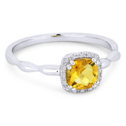 0.63ct Cushion Cut Citrine & Diamond Square-Halo Promise Ring in 14k White Gold - AM-R1030WCT