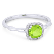 0.64ct Cushion Cut Peridot & Diamond Square-Halo Promise Ring in 14k White Gold - AM-R1030WPR