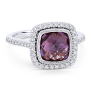 2.67ct Checkerboard Cushion Purple Amethyst & Diamond Pave Halo Ring in 14k White Gold - AM-DR13888W
