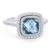2.89ct Checkerboard Cushion Blue Topaz & Diamond Pave Halo Ring in 14k White Gold - AM-DR13889