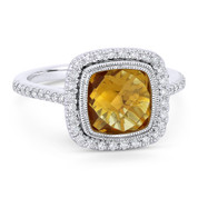 2.68ct Checkerboard Cushion Citrine & Diamond Pave Halo Ring in 14k White Gold - AM-DR13891