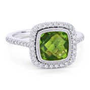 2.91ct Checkerboard Cushion Peridot & Diamond Pave Halo Ring in 14k White Gold - AM-DR13893