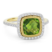 2.65ct Checkerboard Cushion Peridot & Diamond Pave Halo Ring in 14k Yellow & White Gold - AM-DR13894