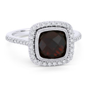 3.52ct Checkerboard Cushion Garnet & Diamond Pave Halo Ring in 14k White Gold - AM-DR13896W