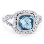 3.07ct Checkerboard Cushion Blue Topaz & Diamond Pave Halo Ring in 14k White Gold - AM-DR13899