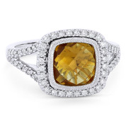 2.79ct Checkerboard Cushion Citrine & Diamond Pave Halo Ring in 14k White Gold - AM-DR13901