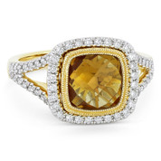 2.72ct Checkerboard Cushion Citrine & Diamond Pave Halo Ring in 14k Yellow & White Gold - AM-DR13901Y