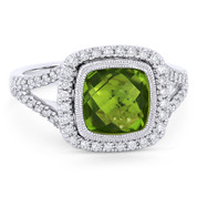 3.16ct Checkerboard Cushion Peridot & Diamond Pave Halo Ring in 14k White Gold - AM-DR13902