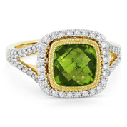 3.19ct Checkerboard Cushion Peridot & Diamond Pave Halo Ring in 14k Yellow & White Gold - AM-DR13903