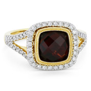 3.39ct Checkerboard Cushion Garnet & Diamond Pave Halo Ring in 14k Yellow & White Gold - AM-DR13905