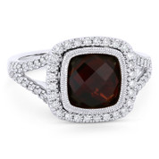 3.34ct Checkerboard Cushion Garnet & Diamond Pave Halo Ring in 14k White Gold - AM-DR13905W