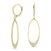 0.31ct Round Cut Diamond Pave Open Oval Dangling Earrings in 14k Yellow Gold -  AM-DE11553