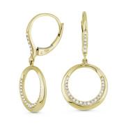 0.21ct Round Cut Diamond Pave Open Circle Dangling Earrings in 14k Yellow Gold - AM-DE11559