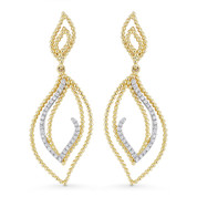 0.14ct Round Cut Diamond Pave Open Dangling Earrings in 14k Yellow & White Gold - AM-DE11567