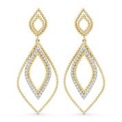 0.20ct Round Cut Diamond Pave Open Dangling Earrings in 14k Yellow & White Gold - AM-DE11568