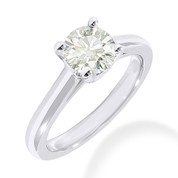 Charles & Colvard® Forever ONE® Round Brilliant Cut Moissanite 4-Prong Cathedral Solitaire Engagement Ring in 14k White Gold - JC-SR 176-FO-14W