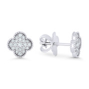 0.31ct Round Cut Diamond Flower Charm Stud Earrings w/ Push-Backs in 18k White Gold - AM-DE11449W