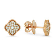0.31ct Round Cut Diamond Flower Charm Stud Earrings w/ Push-Backs in 18k Rose Gold - AM-DE11449P