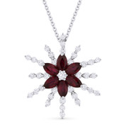 1.68 ct Marquise Cut Ruby & Round Cut Diamond Flower Pendant in 18k White Gold w/ 14k Chain - AM-DN4822