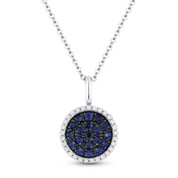 0.42 ct Blue Sapphire & Round Diamond Pave Pendant & Chain Necklace in 14k White Gold - AM-DN4825