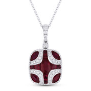 2.18 ct Ruby & Round Diamond Pave Pendant in 18k White Gold w/ 14k Chain Necklace - AM-DN4848