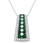 1.53 ct Emerald & Diamond Ladder Pendant in 18k White Gold w/ 14k Chain Necklace - AM-DN4818