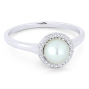 Freshwater White Pearl & 0.08ct Round Cut Diamond Halo Ring in 14k White Gold - AM-DR13483