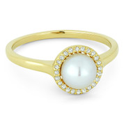 Freshwater White Pearl & 0.08ct Round Cut Diamond Halo Ring in 14k Yellow Gold -  AM-DR13767