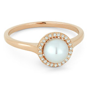 Freshwater White Pearl & 0.08ct Round Cut Diamond Halo Ring in 14k Rose Gold - AM-DR13769