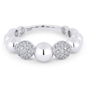 0.33ct Round Brilliant Cut Diamond Stackable Multi-Bead Fashion Ring in 14k White Gold - AM-R1032W
