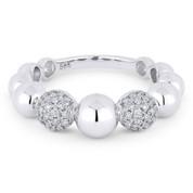 0.33ct Round Brilliant Cut Diamond Stackable Multi-Bead Fashion Ring in 14k White Gold - AM-R1032W