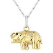 0.04ct Round Cut White & Black Diamond Elephant Animal Charm Pendant & Chain Necklace in 14k Yellow & White Gold
