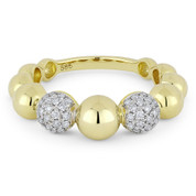 0.32ct Round Brilliant Cut Diamond Stackable Multi-Bead Fashion Ring in 14k Yellow & White Gold - AM-R1032Y