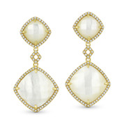 Mother-of-Pearl & 0.40ct Diamond Pave Dangling Earrings in 14k Yellow Gold - AM-DE11603