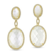 Mother-of-Pearl & 0.44ct Diamond Pave Dangling Earrings in 14k Yellow Gold - AM-DE11604