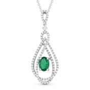 1.26 ct Emerald & Diamond Pave Pendant in 18k White Gold w/ 14k Chain Necklace - AM-DN4819
