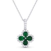 0.81 ct Pear-Shape Emerald & Round Diamond Flower Pendant in 18k White Gold w/ 14k Chain - AM-DN4712