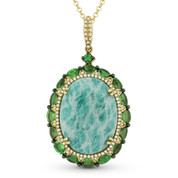 14.13 ct Amazonite, Green Garnet, & Diamond Pendant & Rolo Chain Necklace in 14k Yellow Gold - AM-DN4621