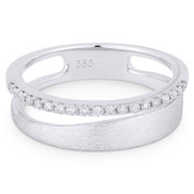 0.16ct Round Cut Diamond Right-Hand Fashion Ring in 14k White Gold - AM-R1052W